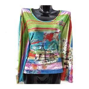 CAIA Coloful Paris Long Sleeve Shirt Top Blouse